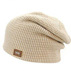 Men's Autumn and Winter Knit Solid Color Wool Hooded Acrylic Warm Ski Hat -