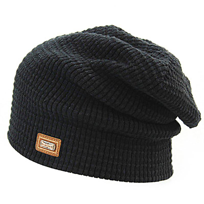 Latest Men's Autumn and Winter Knit Solid Color Wool Hooded Acrylic Warm Ski Hat