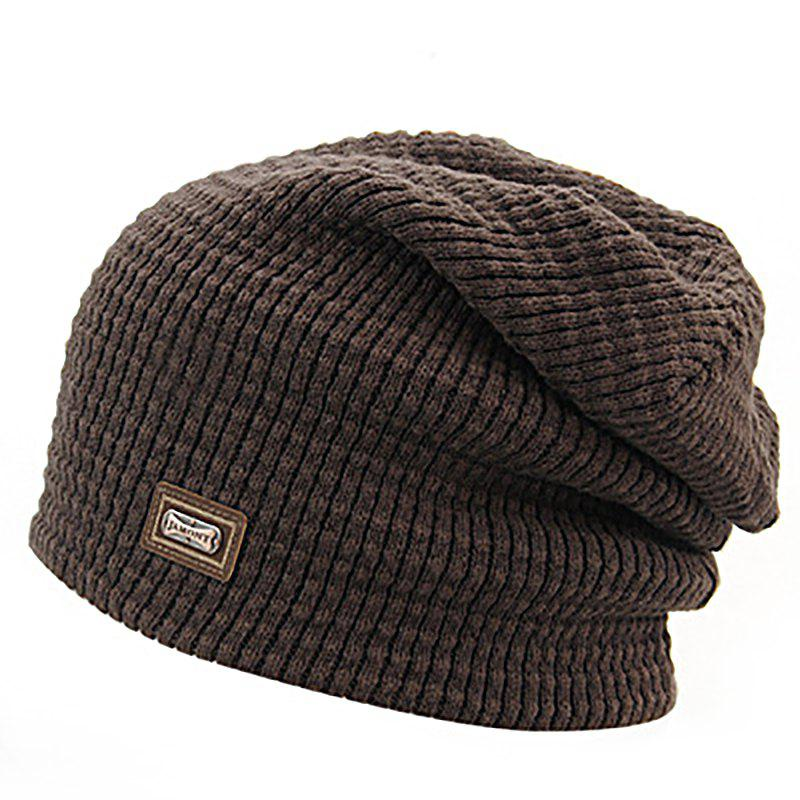 New Men's Autumn and Winter Knit Solid Color Wool Hooded Acrylic Warm Ski Hat
