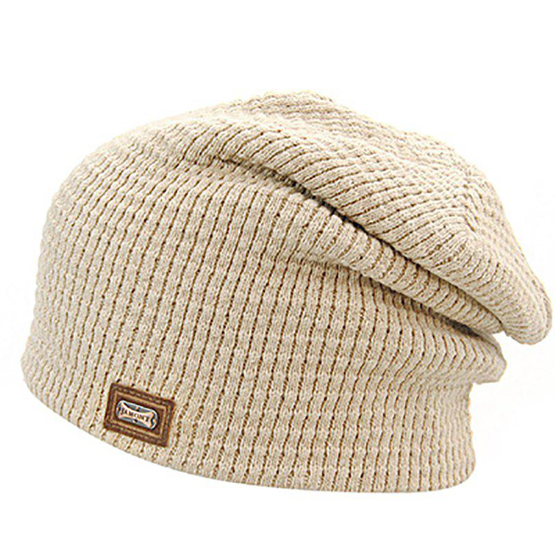 Chic Men's Autumn and Winter Knit Solid Color Wool Hooded Acrylic Warm Ski Hat