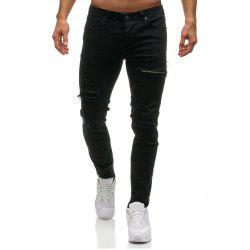 Zipper Decoration Hole Jeans Men's Casual Trousers -