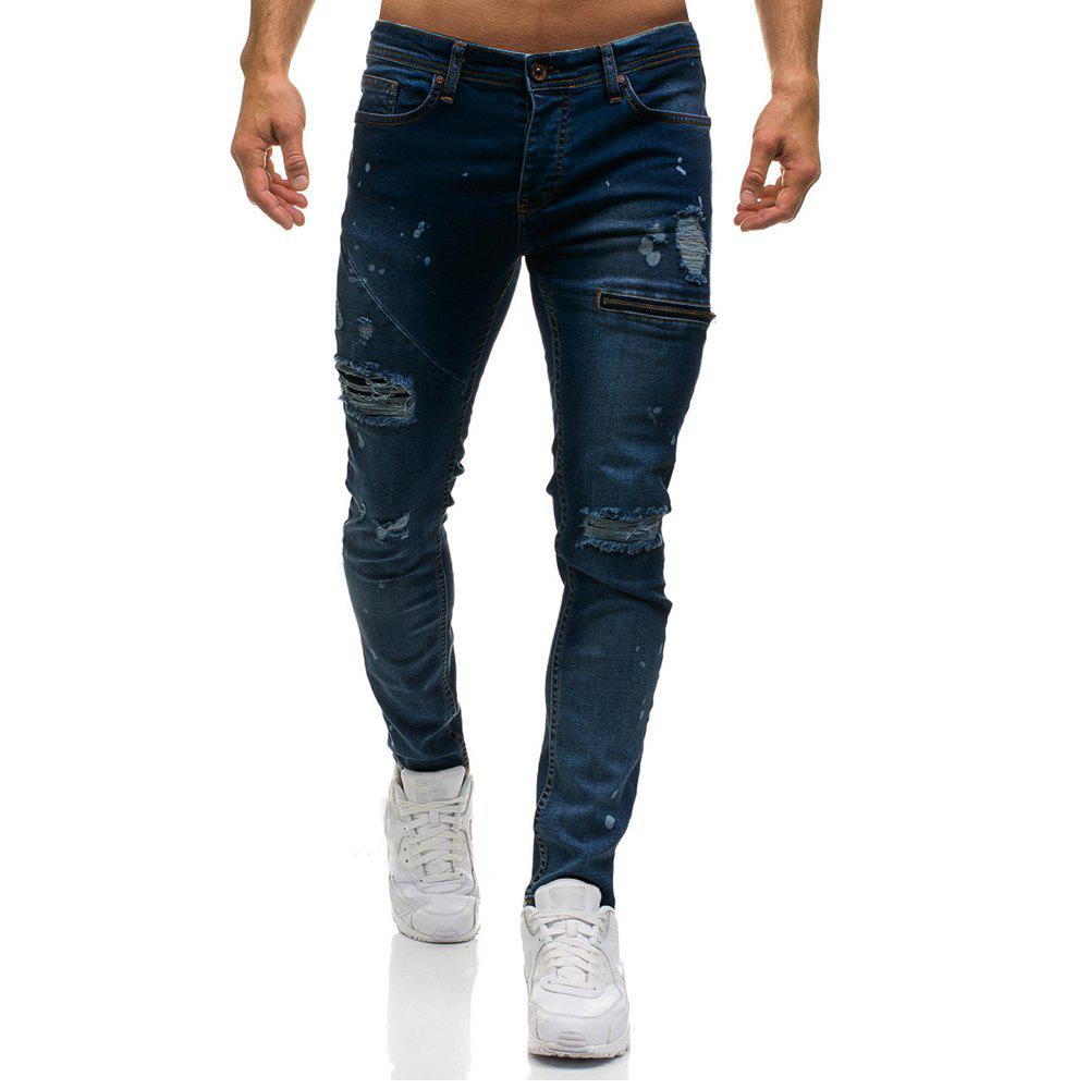 Cheap Zipper Decoration Hole Jeans Men's Casual Trousers
