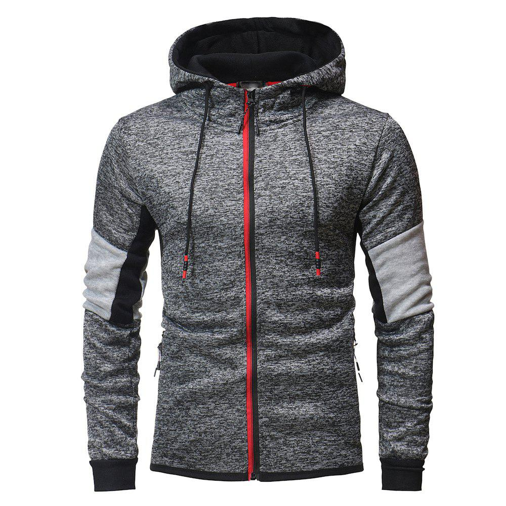 Men's Fashion Hit Color Hooded Long Sleeve Casual Padded Sweater, Dark gray