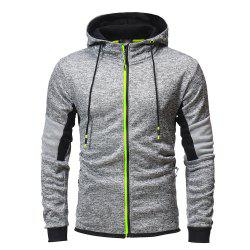 Men's Fashion Hit Color Stitching Slim Hooded Long-sleeved Knit Sweater -