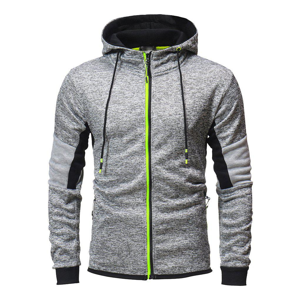Affordable Men's Fashion Hit Color Stitching Slim Hooded Long-sleeved Knit Sweater
