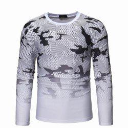 Camouflage Gradient Long Sleeve T-shirt Men's Wild Long Sleeve Sweater -