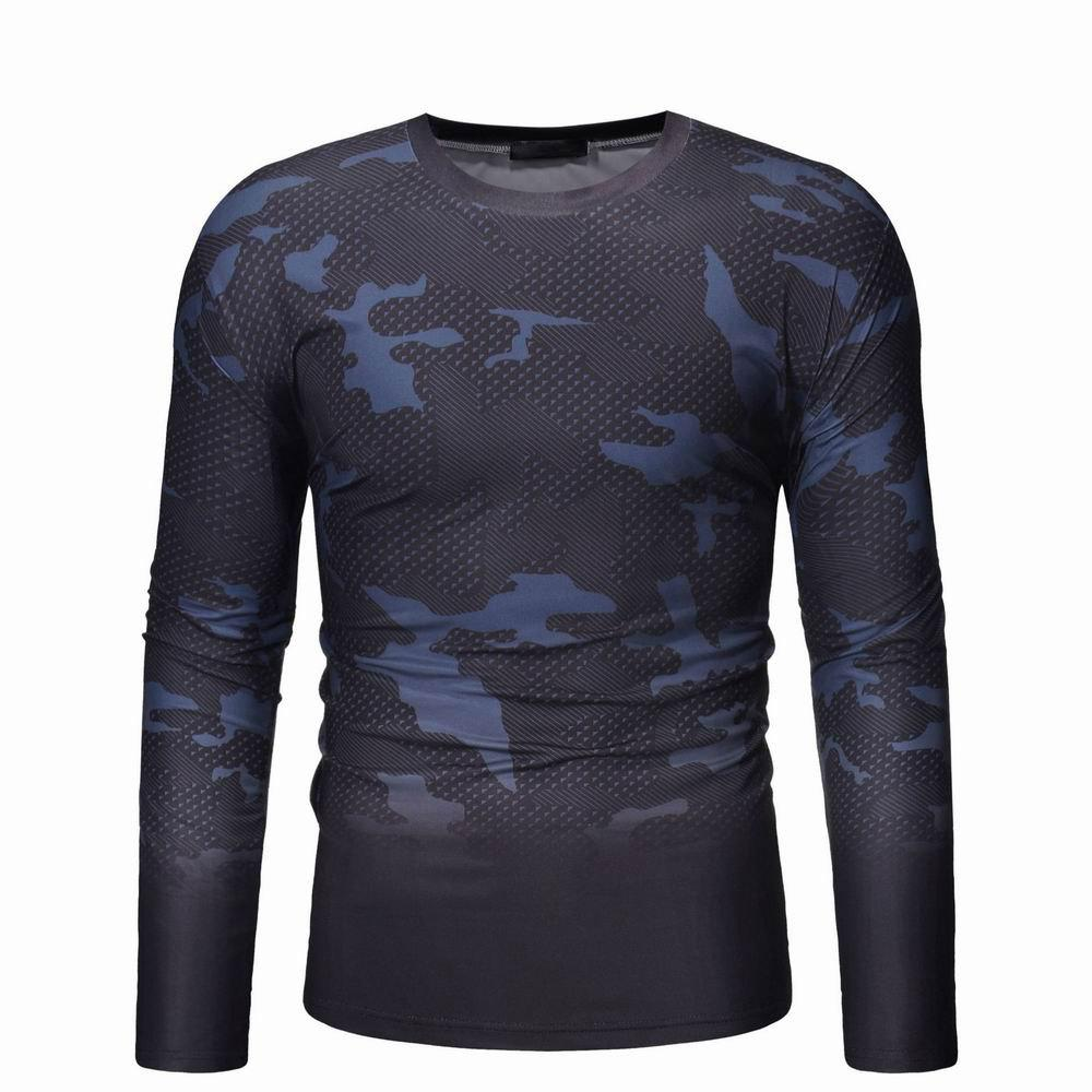 Fashion Camouflage Gradient Long Sleeve T-shirt Men's Wild Long Sleeve Sweater