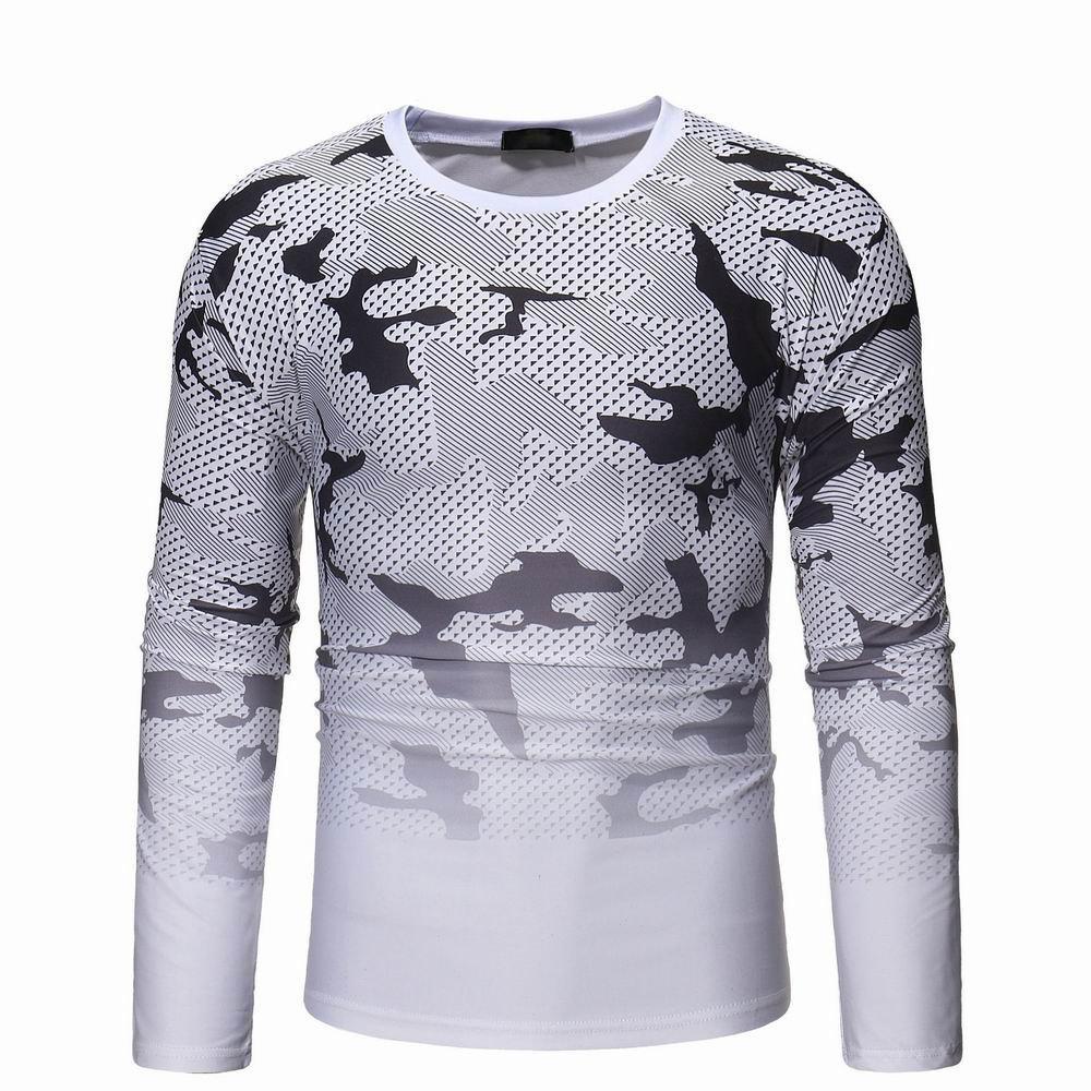 Chic Camouflage Gradient Long Sleeve T-shirt Men's Wild Long Sleeve Sweater