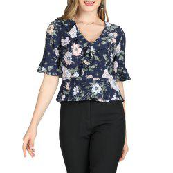 SBETRO Chiffon Top Short Sleeve Flounce Sleeve Floral Blusas Cantilevered -