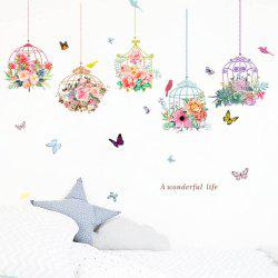 Romantic Flower Birdcage PVC Wall Sticker -