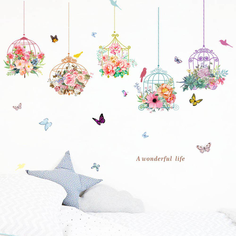 New Romantic Flower Birdcage PVC Wall Sticker