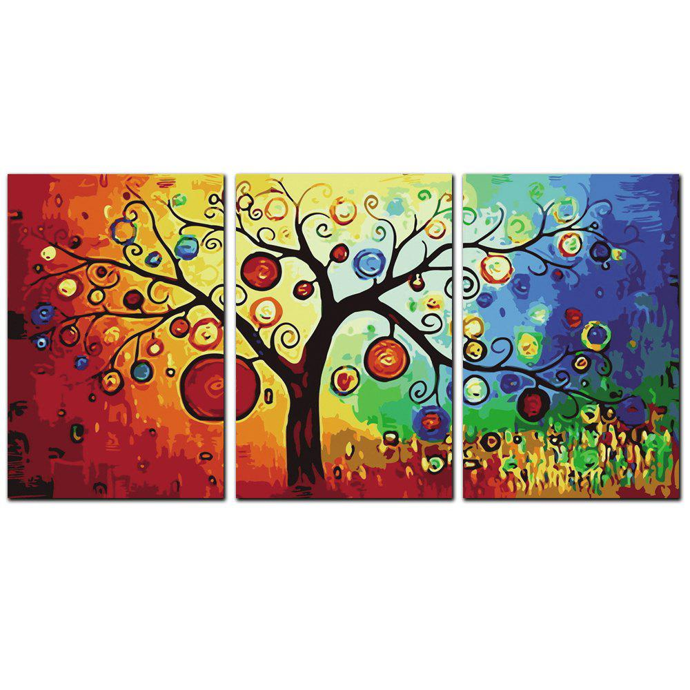 Discount YISHIYUAN 3 Pcs HD Inkjet Paints Colorful tree Decorative Painting