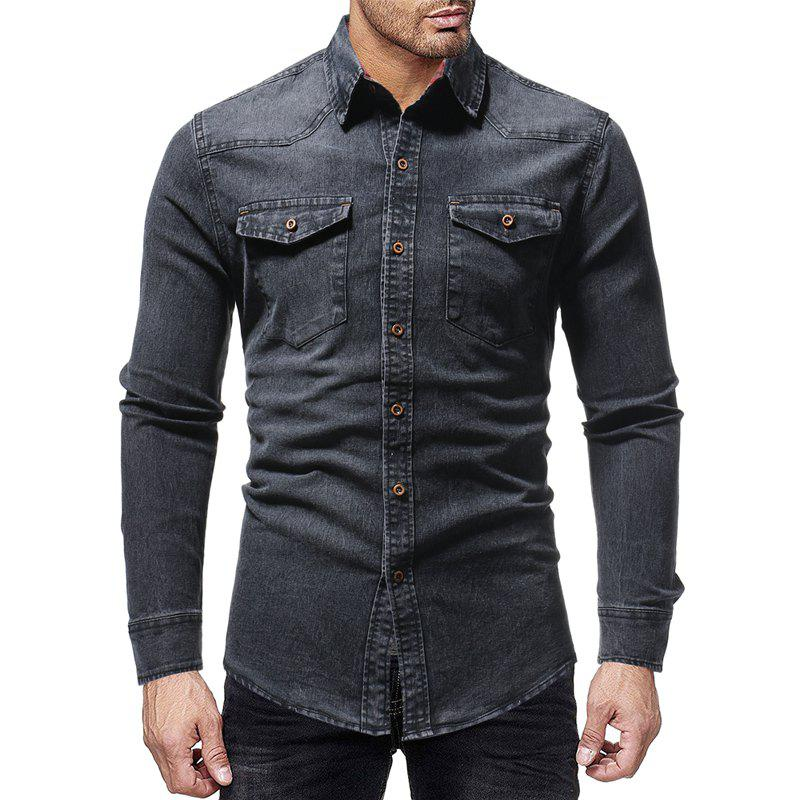 Latest Winter New Lined Plaid Men's Casual Slim Long-Sleeved Shirt