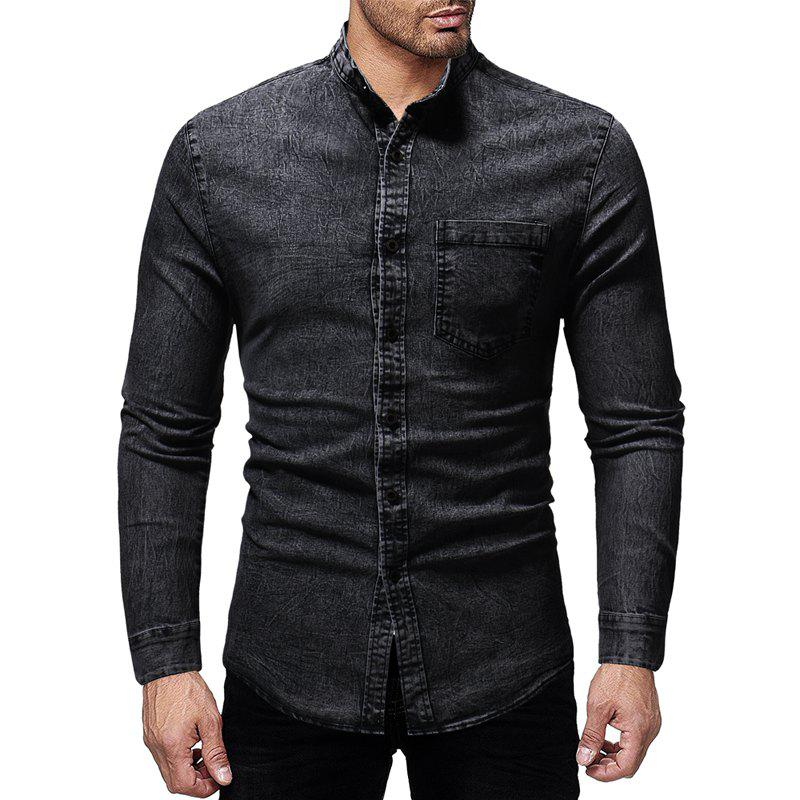 Outfits Winter New Men's Casual Slim Collar Long-Sleeved Washed Shirt