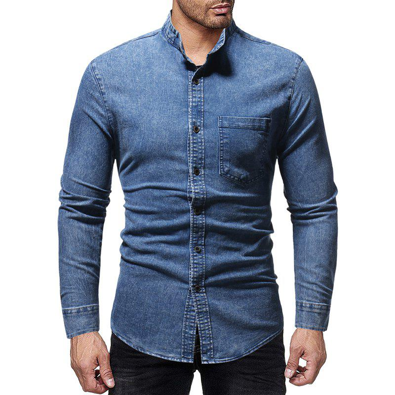Best Winter New Men's Casual Slim Collar Long-Sleeved Washed Shirt