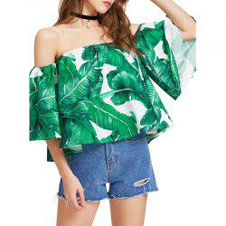 Summer Printed One Shoulder Loose T-Shirt -