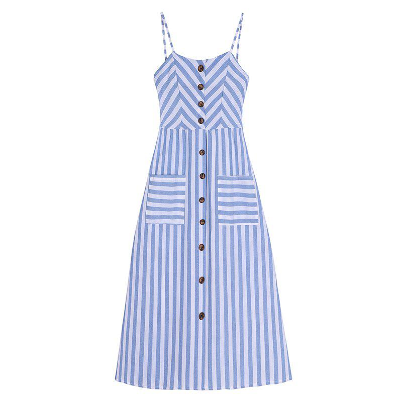 Fashion Striped Printing Elastic Waist Sling Dress