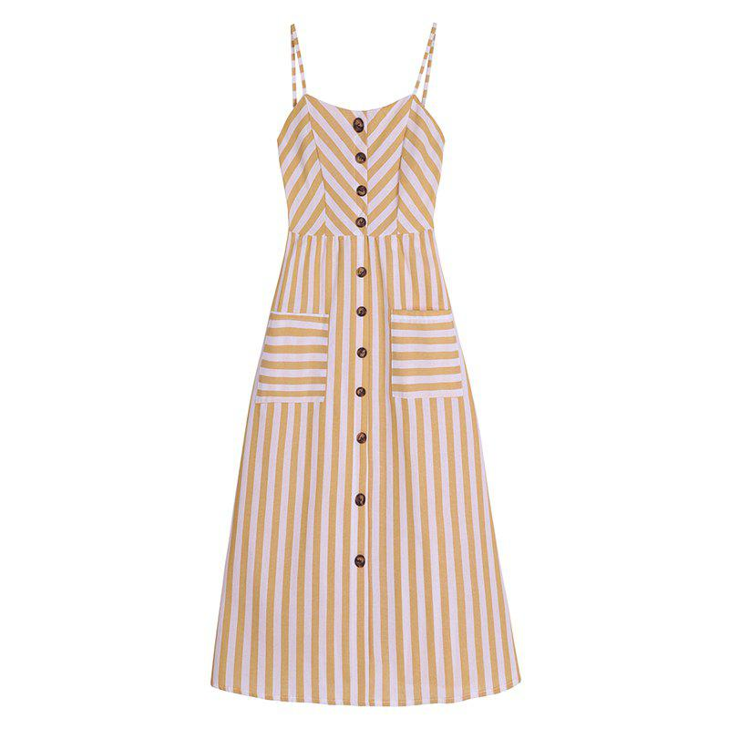 Affordable Striped Printing Elastic Waist Sling Dress