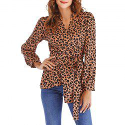 Autumn Lacing Lace V Collar Leopard Shirt -