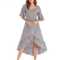 Autumn Self Cultivation Lattices Long Sleeved V Collar Dress -