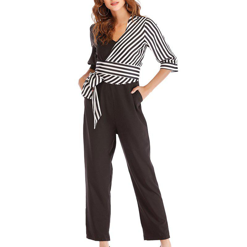 Outfit Autumn Grid Splicing Asymmetrical Striped Trousers