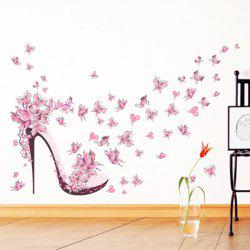 Pink Butterfly Heels Background Waterproof Wall Stickers Can Be Removed -