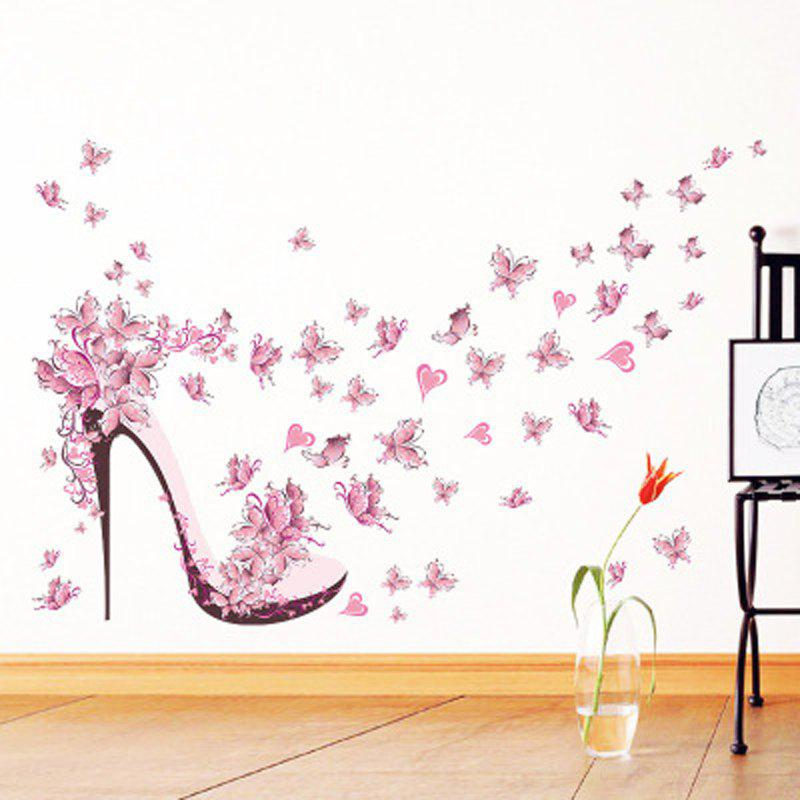 Fashion Pink Butterfly Heels Background Waterproof Wall Stickers Can Be Removed
