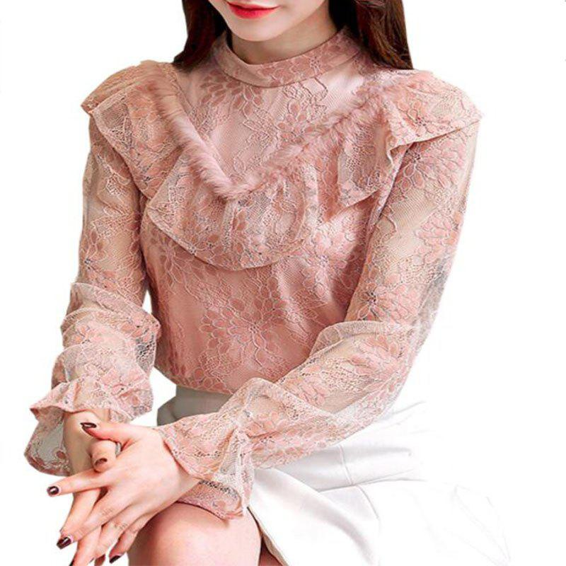 Outfit New Women'S Semi - High Collar Long Sleeve Stitching Lace Sweater