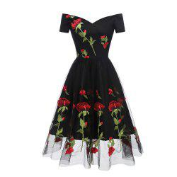 Evening Party Embroidered Rose Bud Silk Gauze Dress -