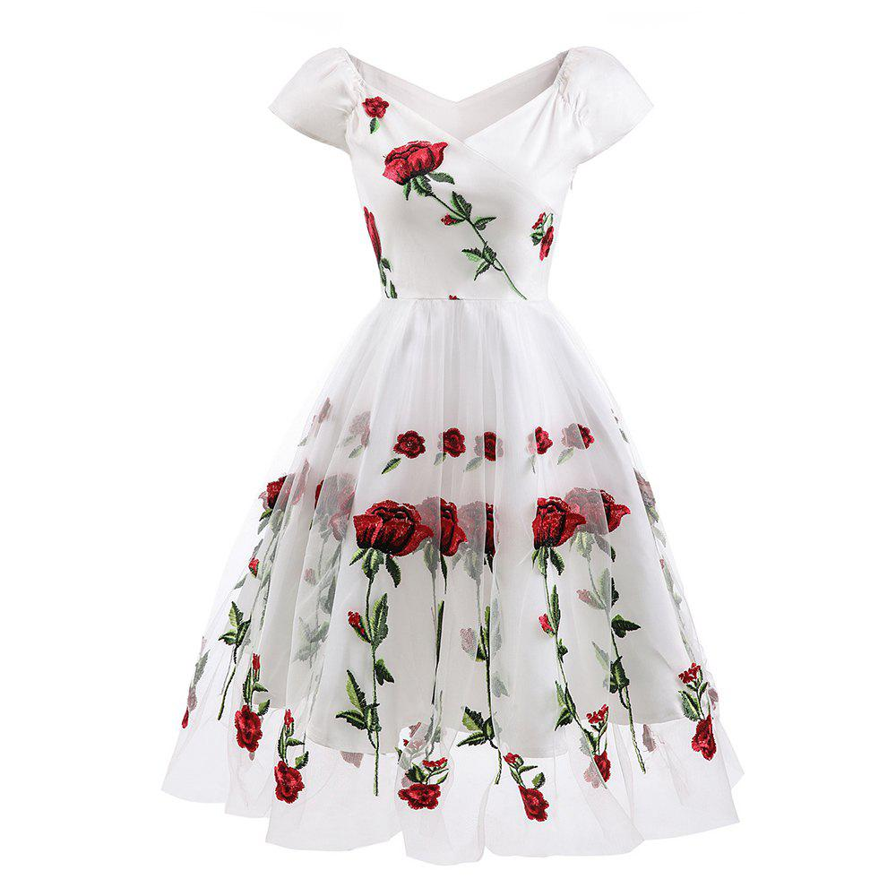 Cheap Evening Party Embroidered Rose Bud Silk Gauze Dress