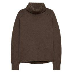 HAODUOYI Women's Autumn and Winter High Lapel Split Sweater Brown -