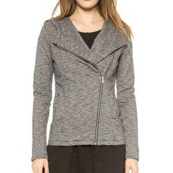HAODUOYI Women's Diagonal Zip Hooded Slim Pocket Jacket Female Jacket Grey -