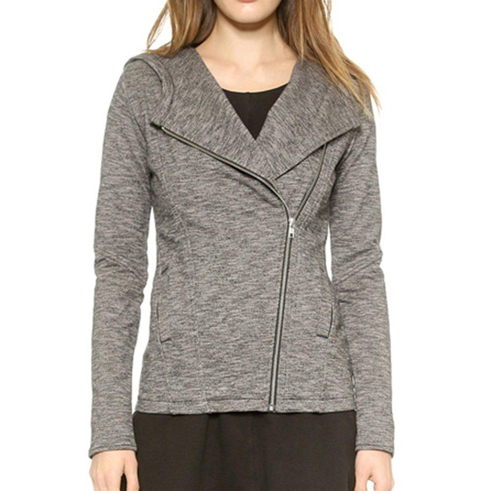 Shops HAODUOYI Women's Diagonal Zip Hooded Slim Pocket Jacket Female Jacket Grey