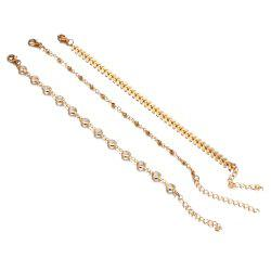 Crystal Sequins Anklet Set For Women Beach Foot jewelry -