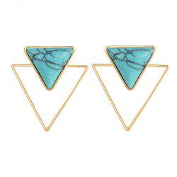 Bohemian Geometric Double Earrings Blue Stone Triangle Stone pour les femmes -