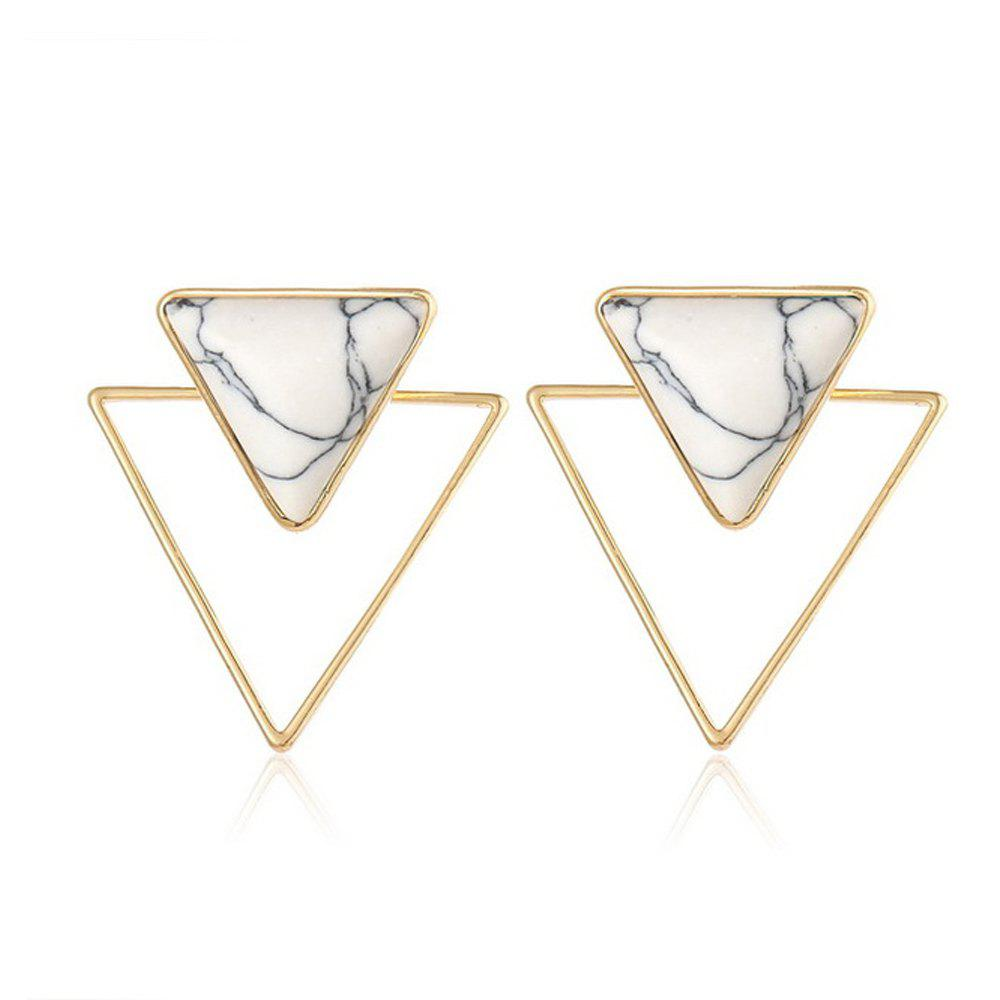 Bohemian Geometric Double Earrings Blue Stone Triangle Stone pour les femmes