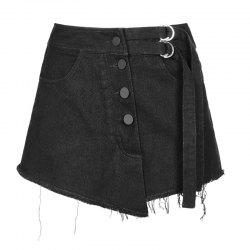 Double Belt Row Buckle Half Skirt Pant -