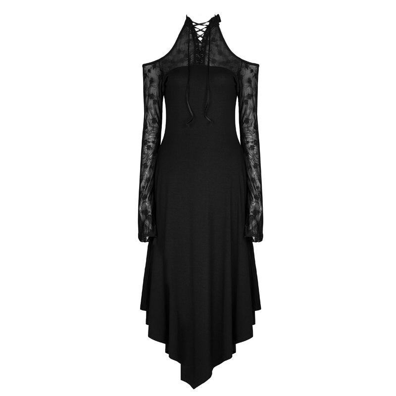 Sale Dark Lace Spliced Off The Shoulder Long Sleeves Casual Dress