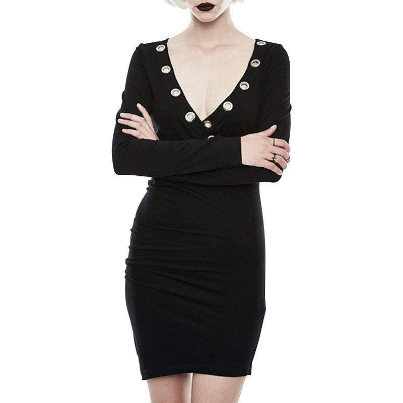 Sale Deep V Collar Black Sexy and Tight Stretch Party Dress