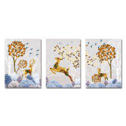 DYC 3PCS Sika Deer in Art Print Fleurs -