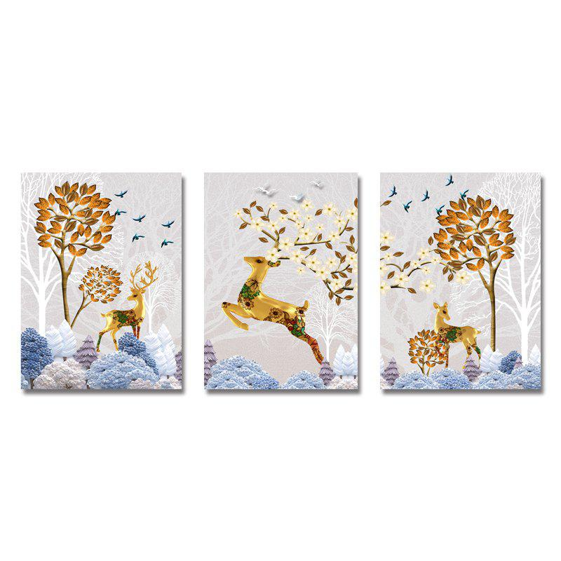 DYC 3PCS Sika Deer in Art Print Fleurs