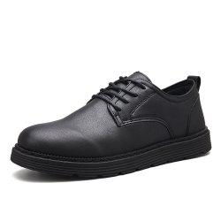 Men Solid Lace Up Brief Casual Leather Shoes -