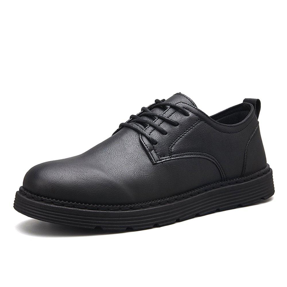 New Men Solid Lace Up Brief Casual Leather Shoes