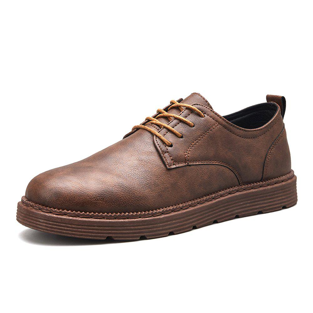 Buy Men Solid Lace Up Brief Casual Leather Shoes