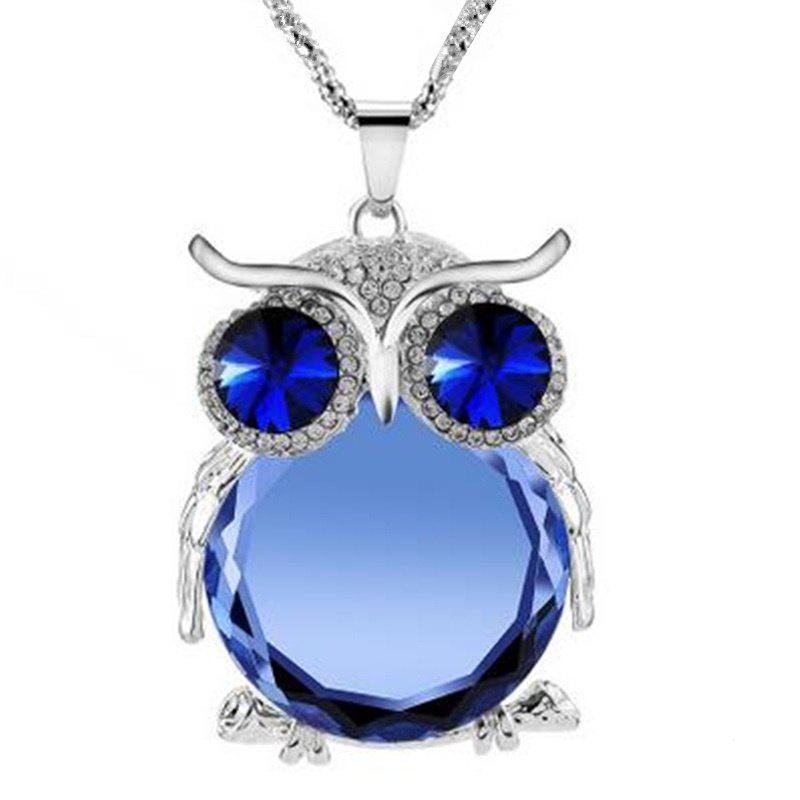Lady Luxurious Owl Modeling Artificielle Gem Collier Collier Chaîne