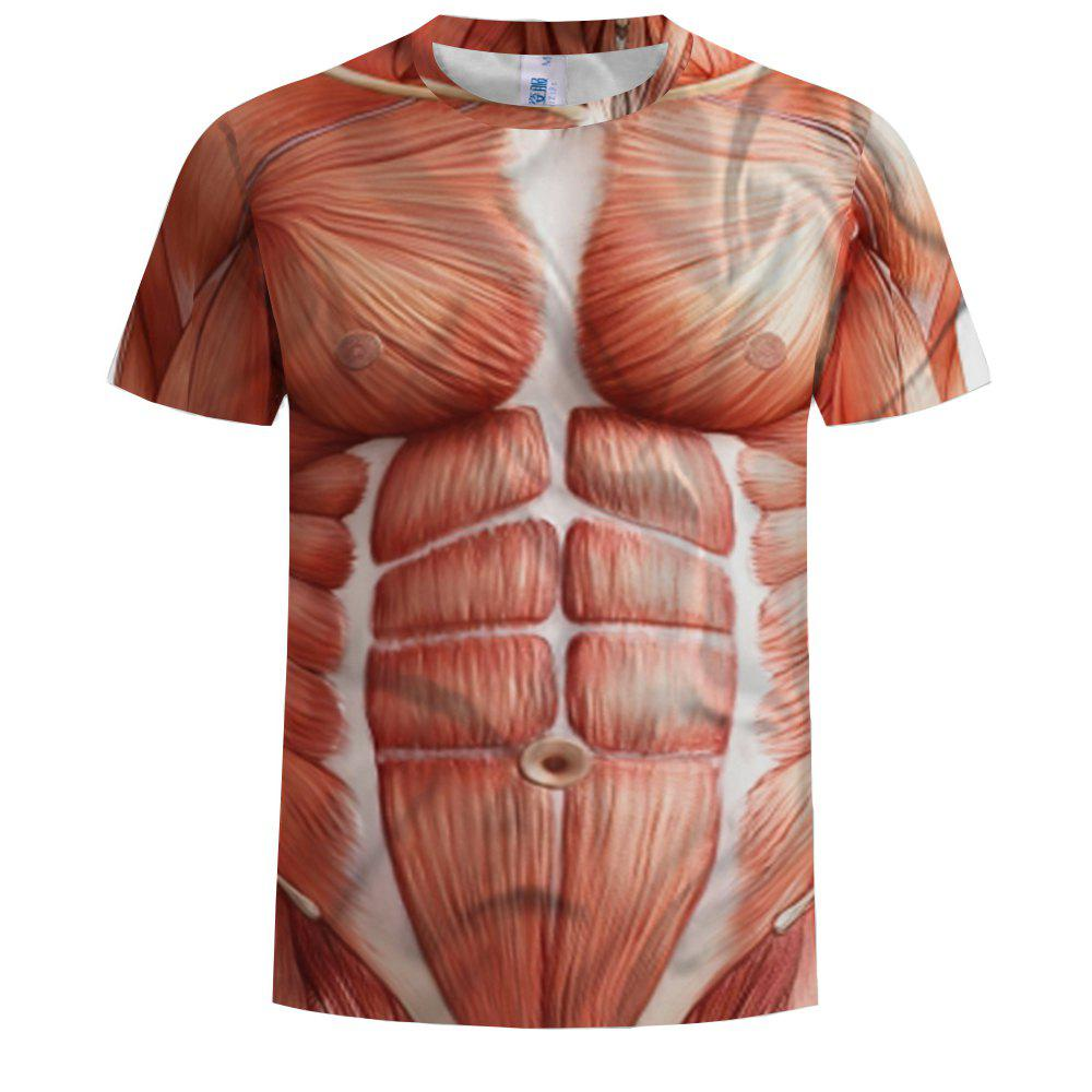 23cf3f011 Fancy Fashion Men's 3D Printing Spoof Muscle Pattern Short-Sleeved T-Shirt