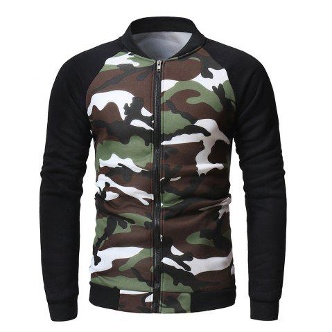 Fashion Camouflage Color Matching Wild Men's Sweater Casual Cardigan Jacket
