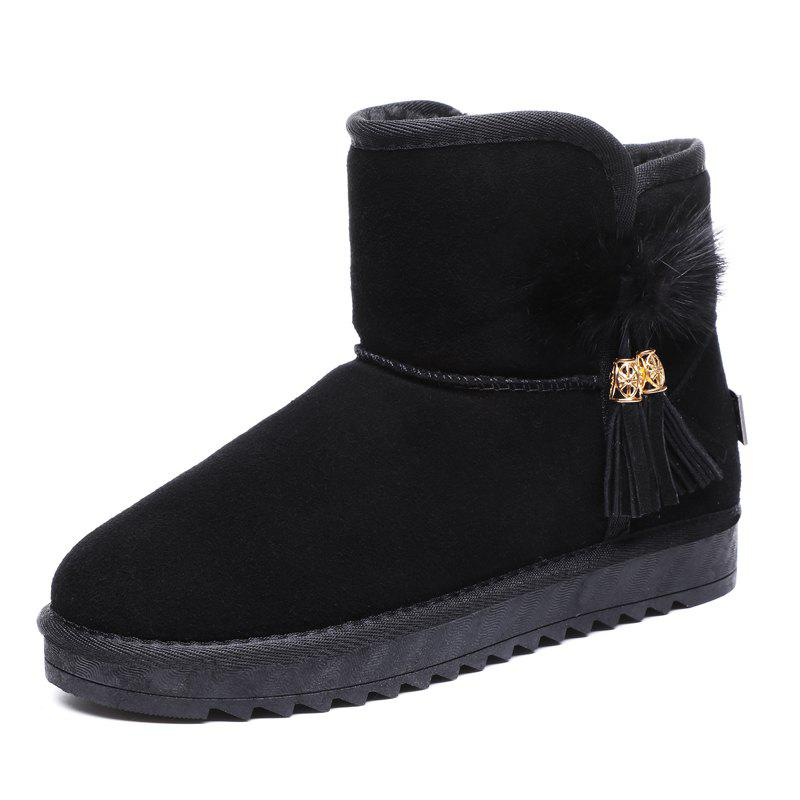 Affordable Women Tube Leather Plus Cotton Warm Non-Slip Flat Snow Boots