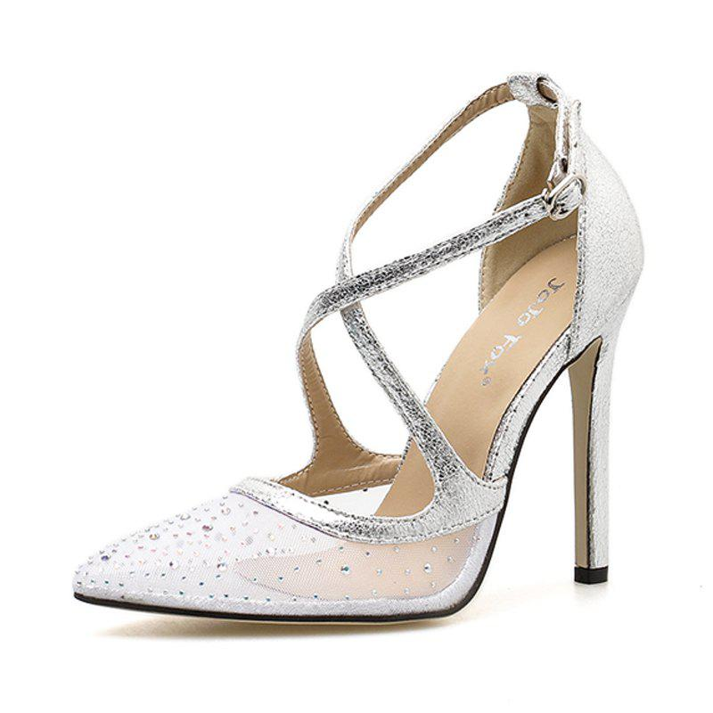 e779391d7069 Shop Women s Pointed Toe Stiletto Pumps Retro Party High Heels with  Rhinestone