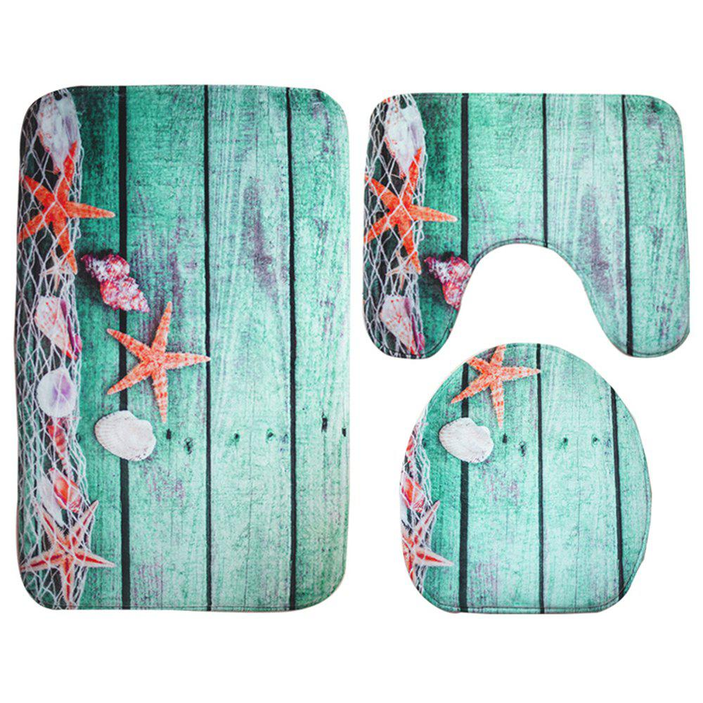 Floor Starfish Print Bathroom Bathroom Toilet Mat Three-Piece